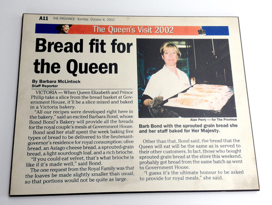 Original article from the Province Newspaper 2002 - Bond Bond's Bakery Serves the Queen